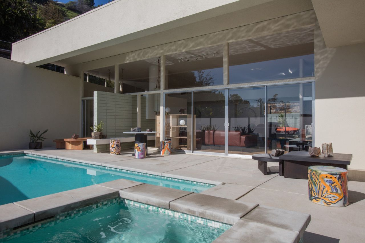 Casa Perfect, a fully shoppable, by-appointment-only midcentury modern home located high in the Hollywood Hills with an outdoor pool and modern patio furniture