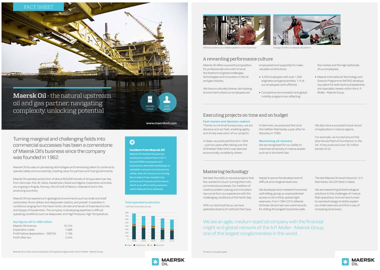 Maersk Oil Factsheet  Company Fact Sheet    Business
