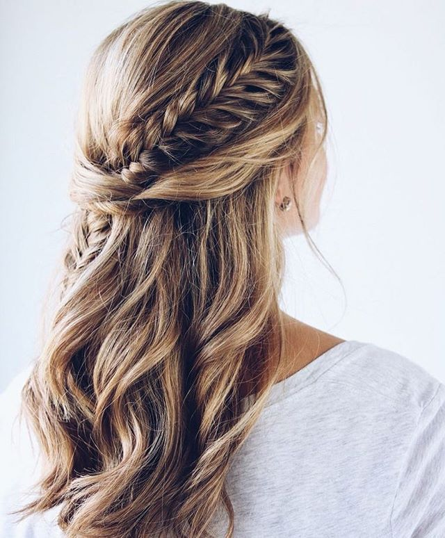 Fishtail Braid Wedding Hairstyles: Half Up Fishtail Braids And Half Down Hairstyle #braids