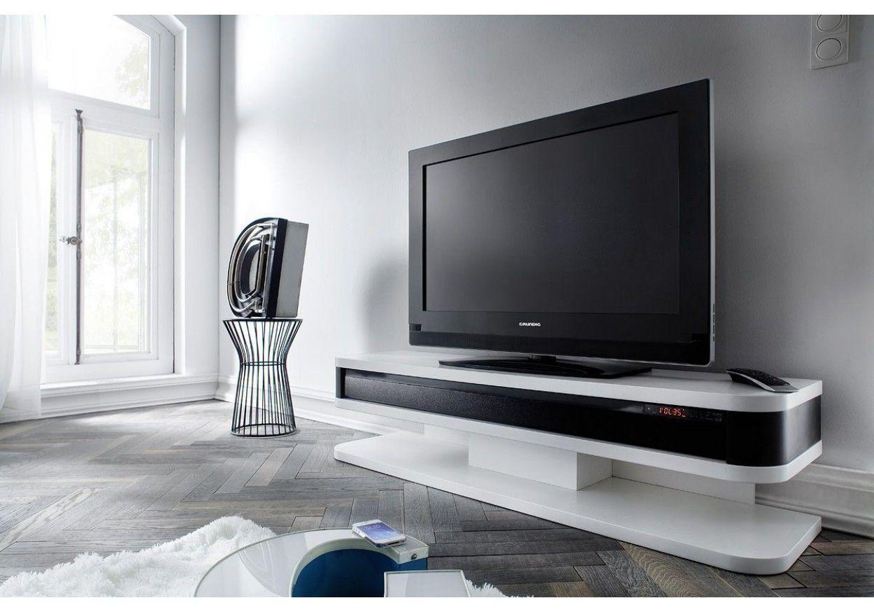 TV HiFi Lowboard mit Soundsystem weiss matt/ schwarz Woody 41-02551 ...