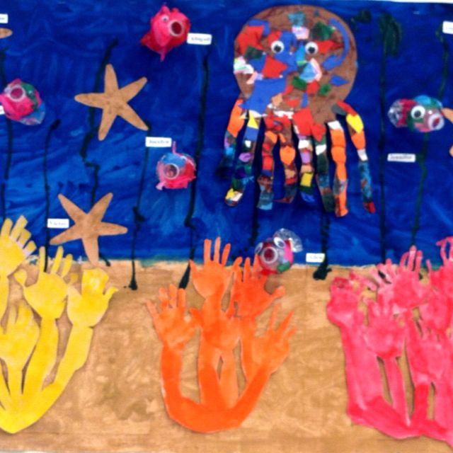 Ocean Mural :) Coral handprints