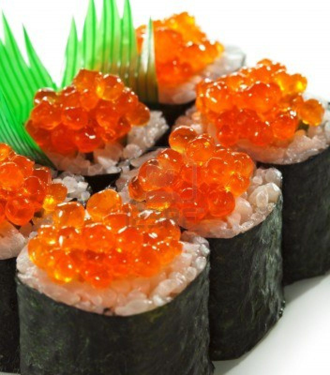 Ikura maki sushi roll with fresh salmon roe sushi for Fish eggs on sushi