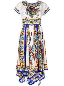 5f0c9757 Majolica print flared dress | Wish List | Silk floral dress, Dresses ...