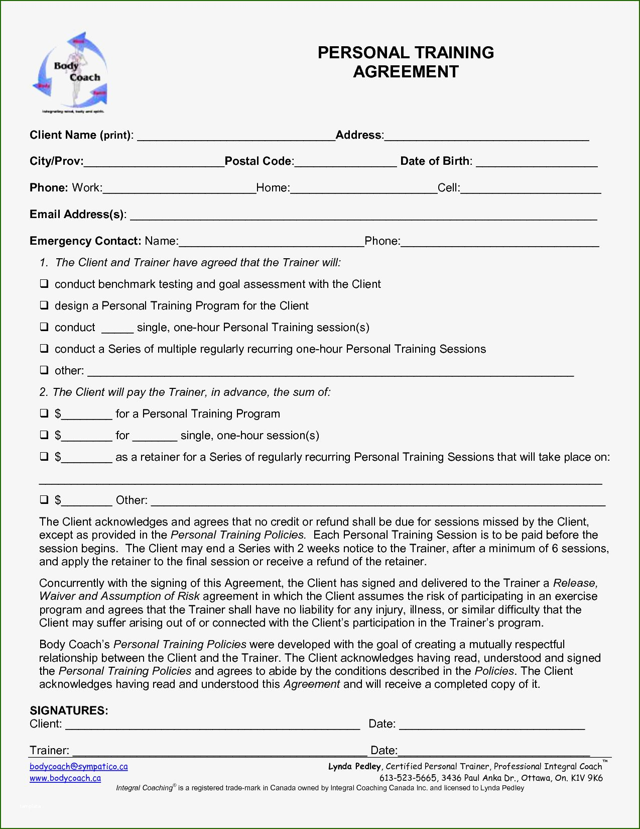 11 Admirable Personal Training Contracts Template That Don