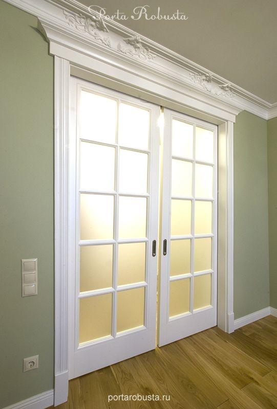 крашенная межкомнатная дверь со стеклом Opera