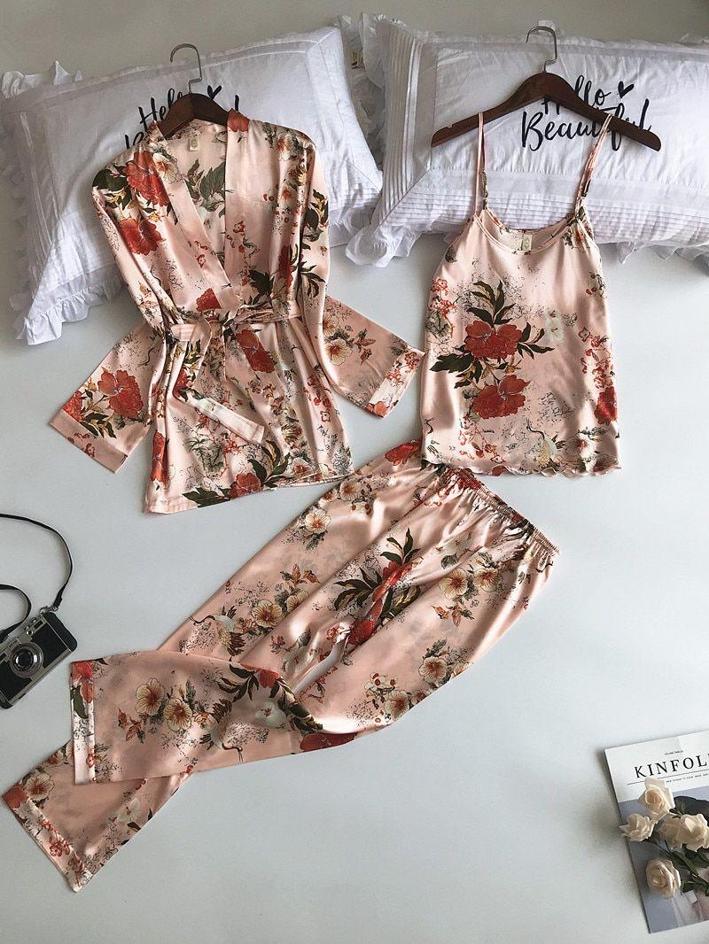 Women Pajamas Sets 3 Pieces Spaghetti Strap Satin Sleepwear Female
