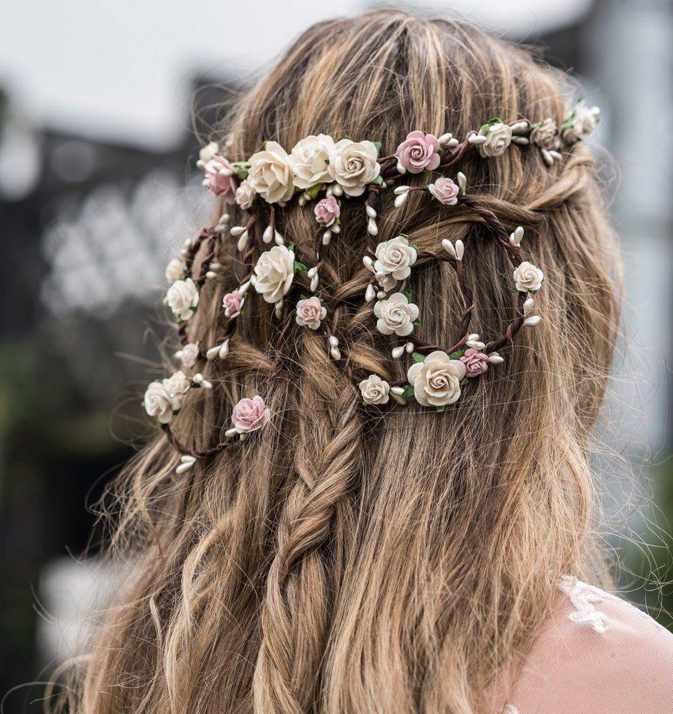Audrey Ivory Rose Trailing Hair Vine Unique Handmade Floral Crowns