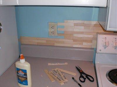 Wood Backsplash With Rulers Kitchen Ideas Paint Stir Sticks