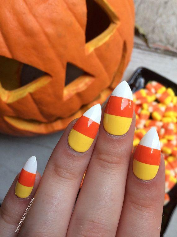 Candy corn nails fake nails halloween nails by nailsbykate ...