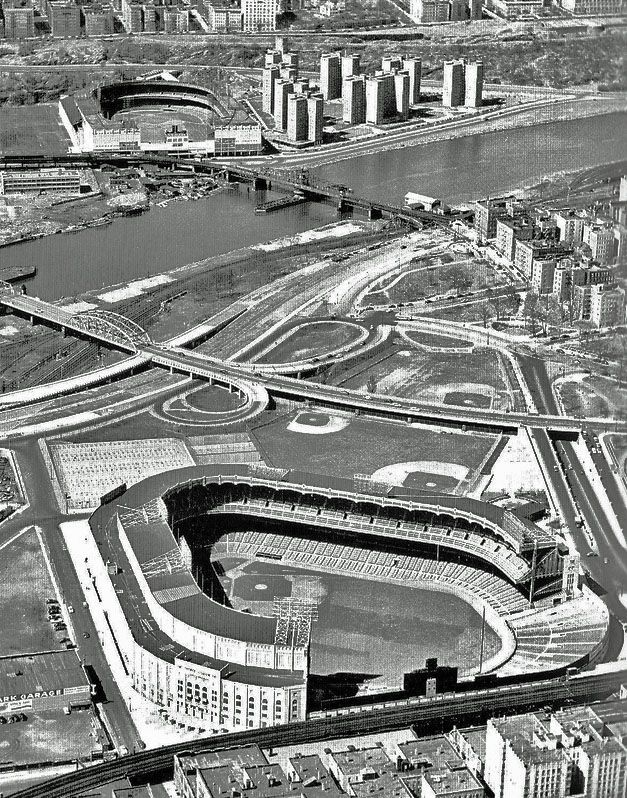 Aerial View Of Yankee Stadium And Polo Grounds New York