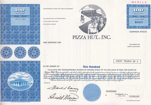 Pizza Hut, Inc. Specimen Stock Certificate | Flickr - Photo Sharing!