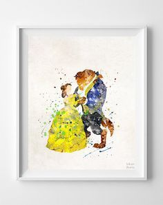 Beauty and the Beast Print Belle Watercolor Art by InkistPrints