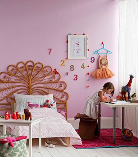 Boho Kids Rooms: Girls Room, Pink, Peacock Headboard, Boho, Via Real Living