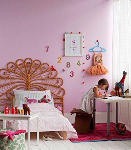 Bedroom Kids Pink Male Bedroom Wall Art Bedroom Carpet Online Bedroom Sets King: Girls Room, Pink, Peacock Headboard, Boho, Via Real Living