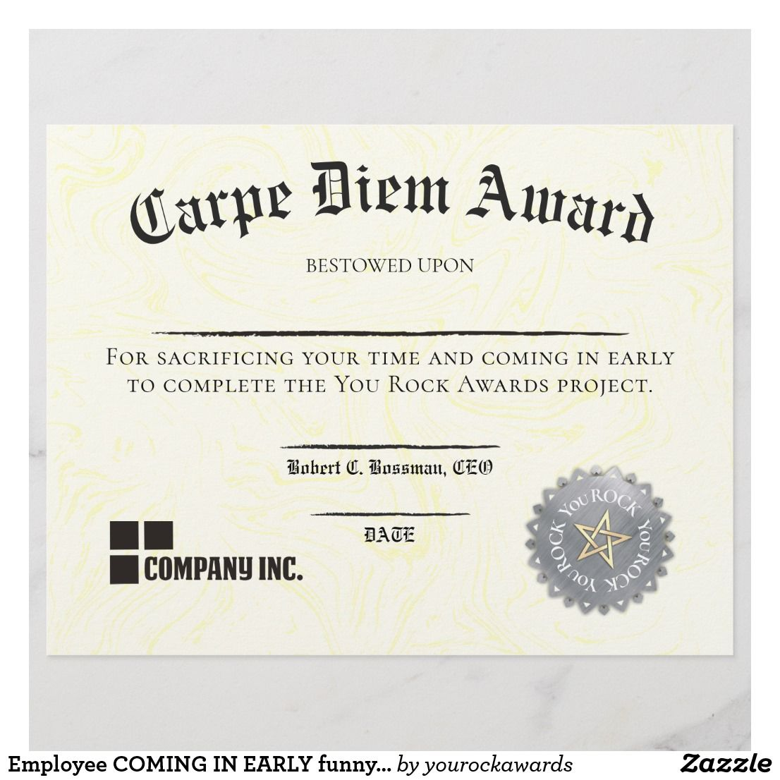 Employee COMING IN EARLY Funny Certificate Award