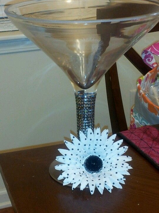 Martini glasses as center peices