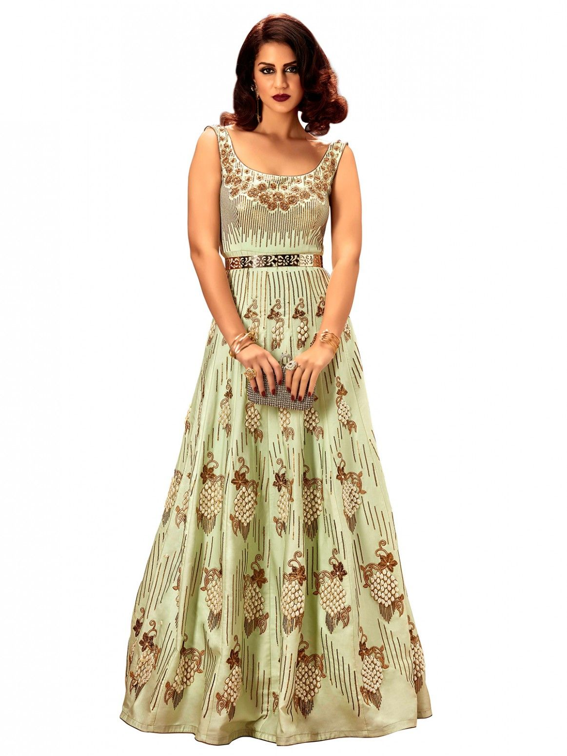 Buy Khwaab Fusion Magic Mint Gown Online at Low prices in India on ...