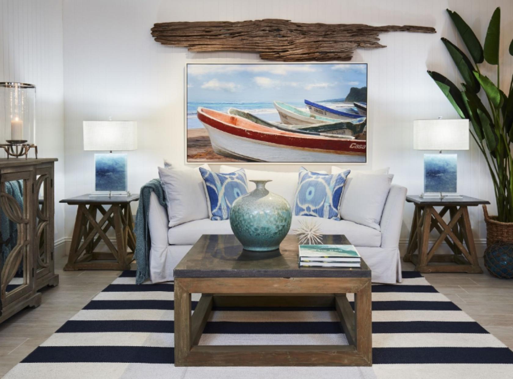 Coastal living room with sea inspired throw pillows  Nautical
