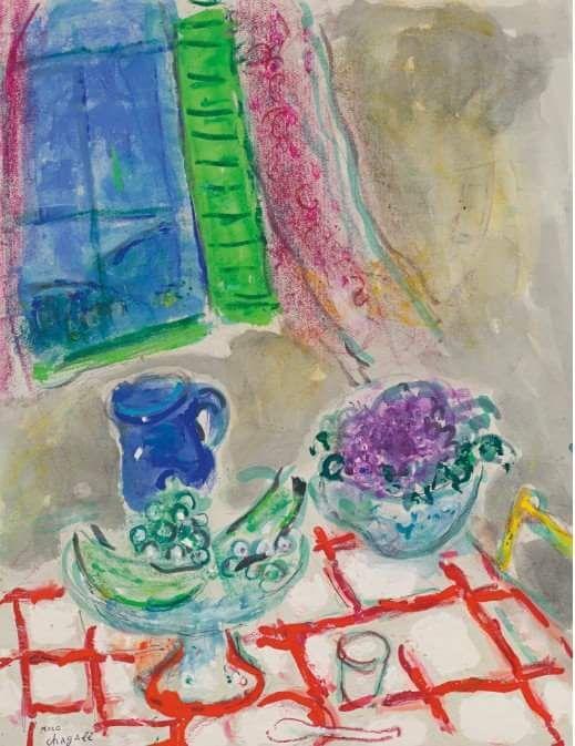 Marc Chagall - Nature morte à la nappe quadrillée (1952-54)