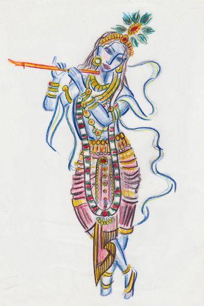 lord krishna colour drawing by narayaniarts indian art