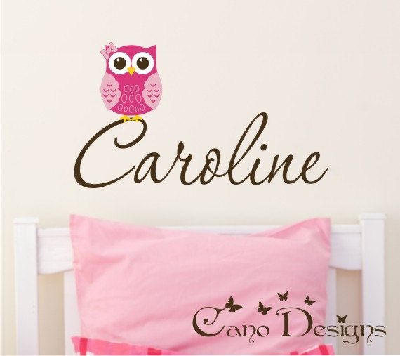 Personalized Name With Owl Custom Vinyl Wall Decals Stickers - Custom vinyl wall decals removable