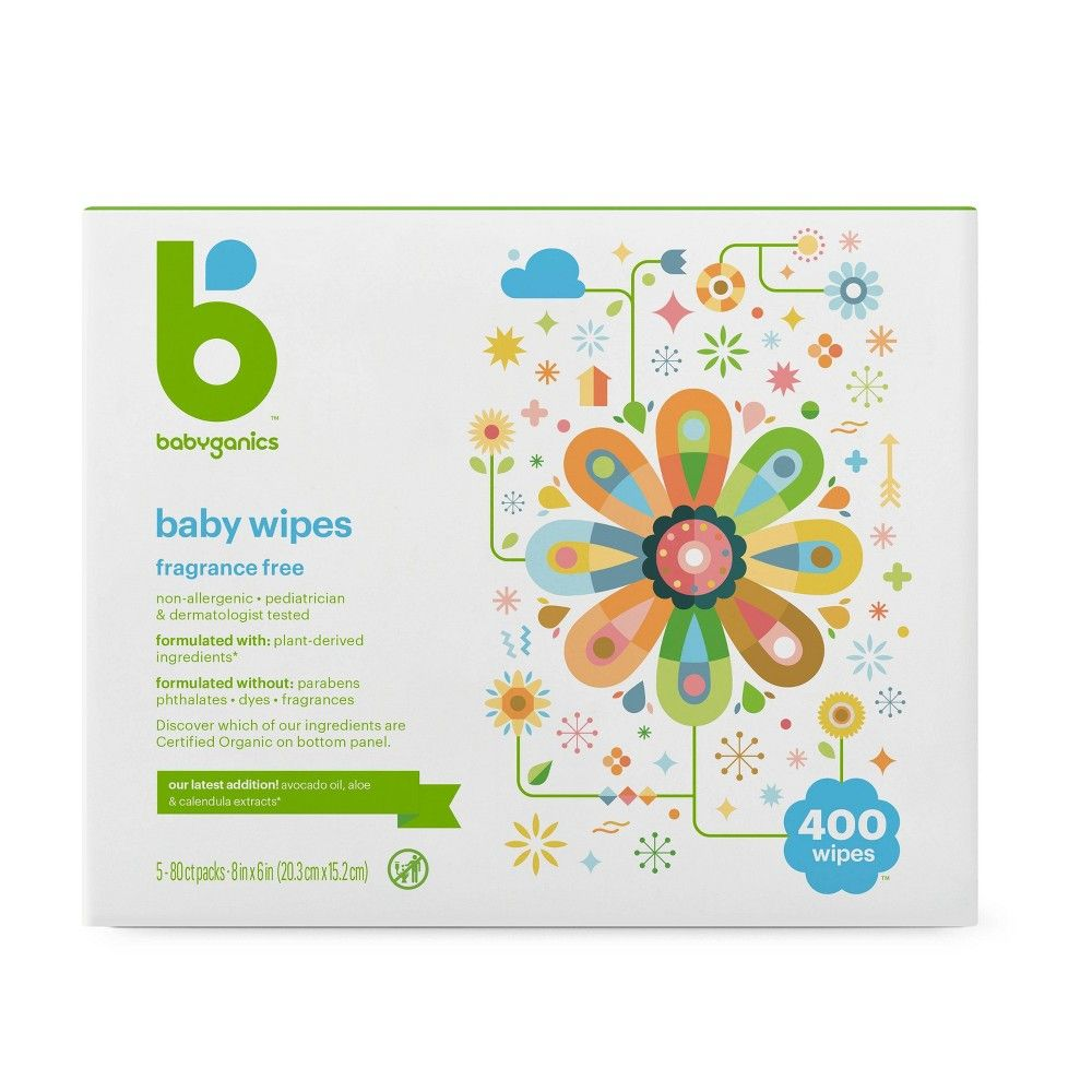Babyganics Face Hand Baby Wipes Fragrance Free 400ct