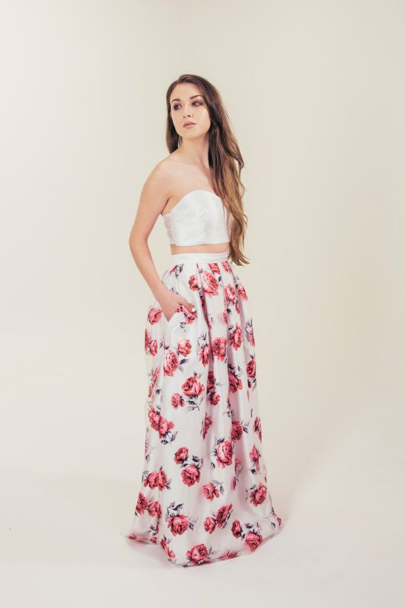 Mia skirt in pink floral by eandw on Etsy