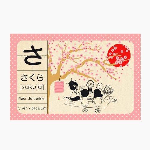 Affiche Decorative Abecedaire Japonais Estampe Japonaise Japon Langue Japonaise