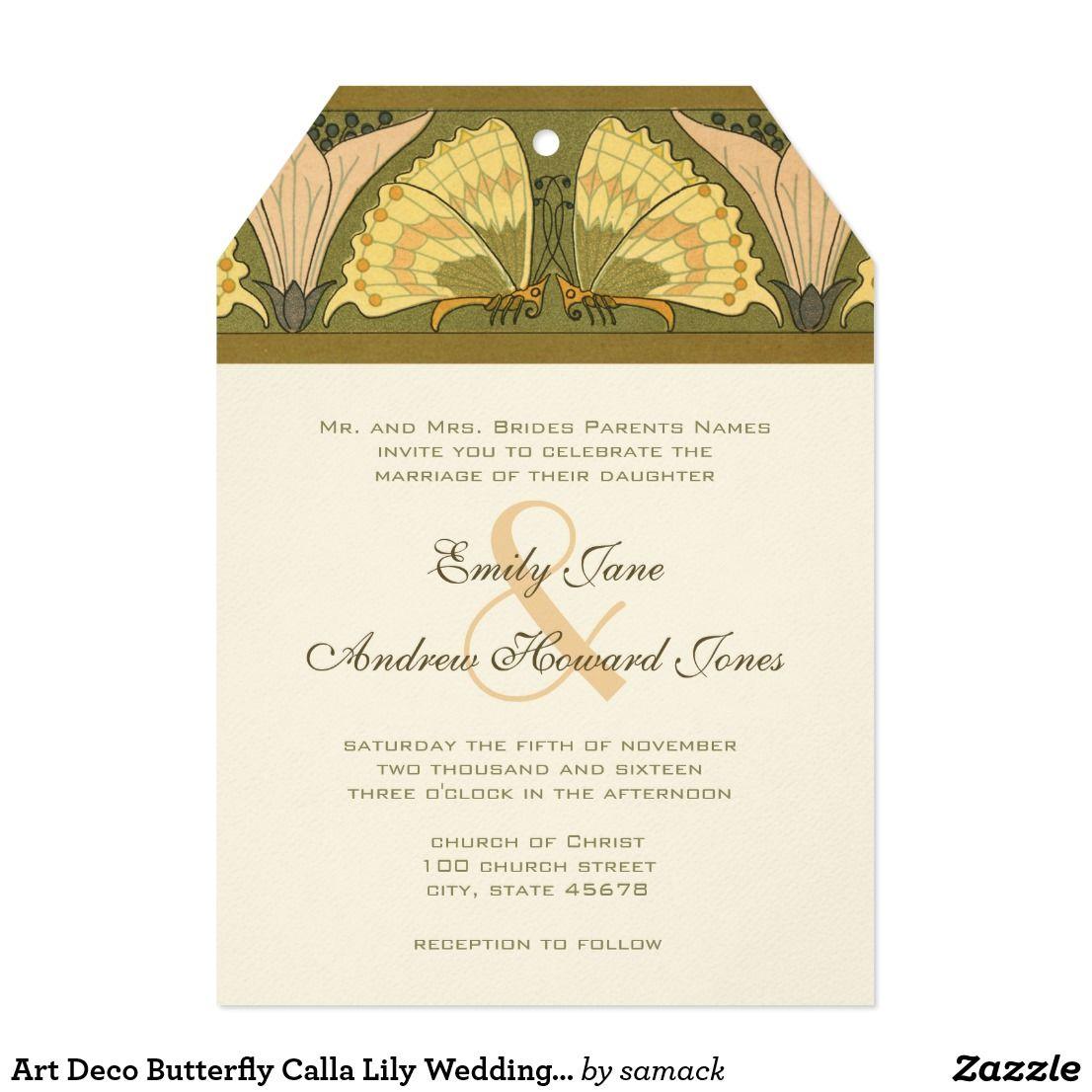 Art Deco Butterfly Calla Lily Wedding Invitation | Calla lilies and ...