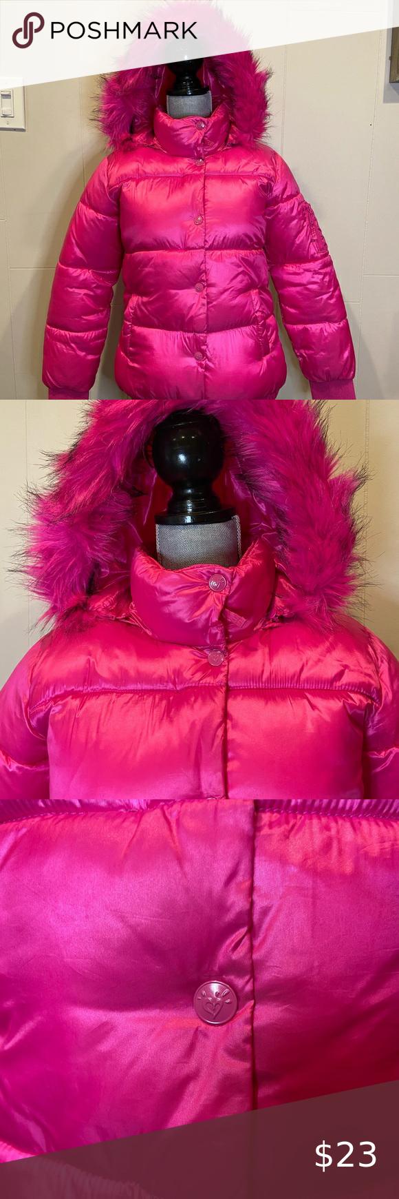 Justice Pink Puffer Jacket Fur Trimmed Hood 12 14 Pink Puffer Jacket Fur Trim Fur Jacket [ 1740 x 580 Pixel ]