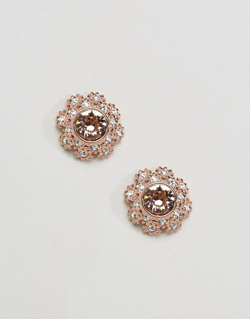 Ted Baker Seraa Crystal Daisy Lace Stud Earrings Gold