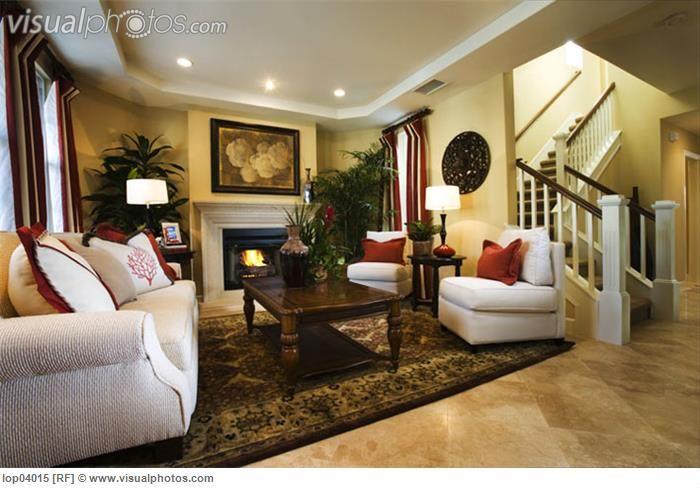 Warm, Cozy Living Room with Fireplace lop04015 \u003e Stock Photos