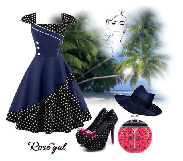 """""""Rosegal vintage dress"""" by callmerose on Polyvore featuring Kate Spade, Piers Atkinson and vintage"""