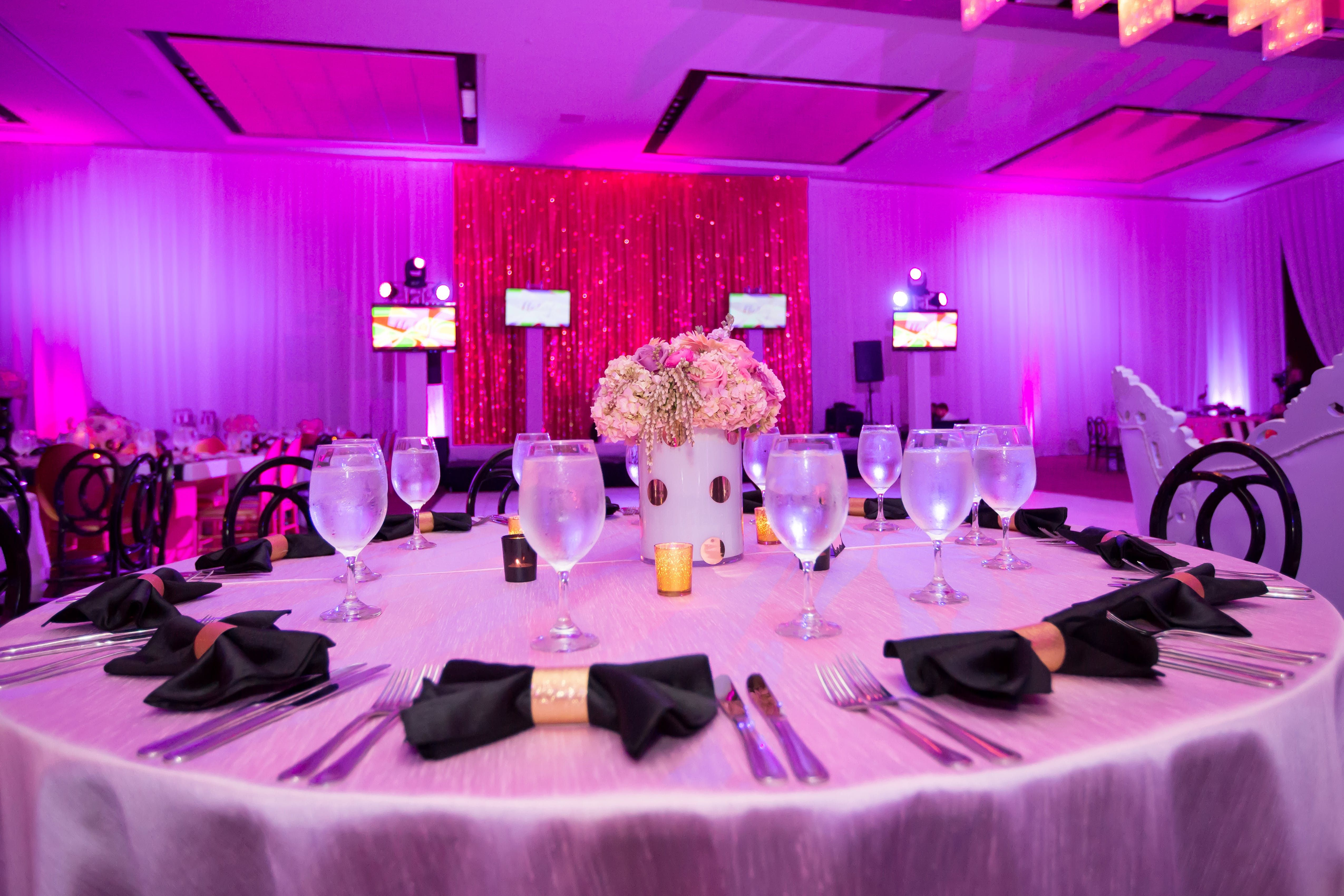 Black Pink Mod Bat Mitzvah Party Rentals And Decor By Gilded Group Decor Miami Event Design Miami Event Decor Miami E Event Decor Event Wedding Designs