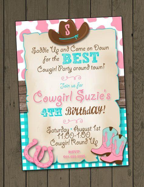 Cowgirl Invitation Birthday Party By DaxyLuu On Etsy