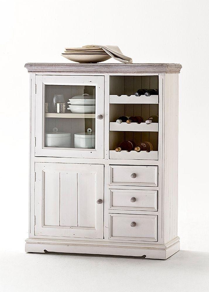 Rustikale weiße Vitrine L Elsa #weiß #möbel #wohnzimmer #vitrine - landhausmöbel weiss wohnzimmer