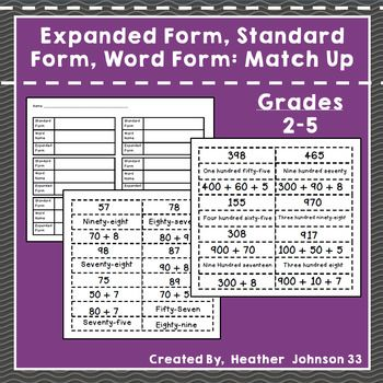 Standard Form Expanded Form Word Form Match Up Expanded Form