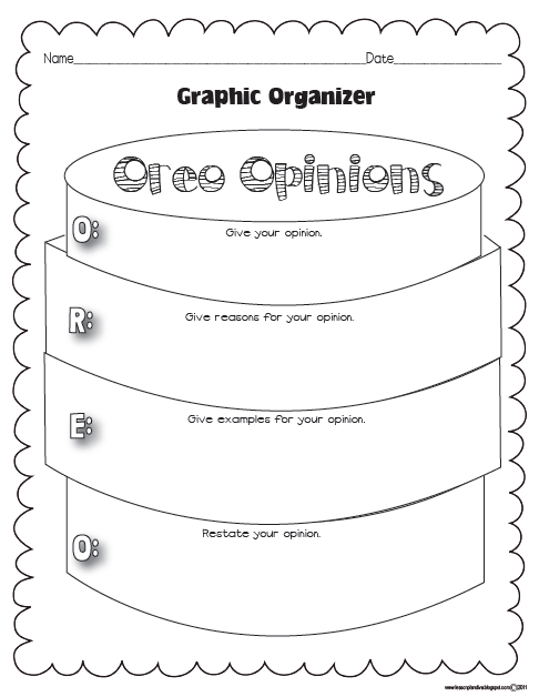 opinion writing graphic organizers Opinion writing requires students to support their opinions with specific reasons strong writers include details and/or examples in their essays that further validate their opinions a graphic organizer can assist young writers in backing up their opinions with strong reasons.