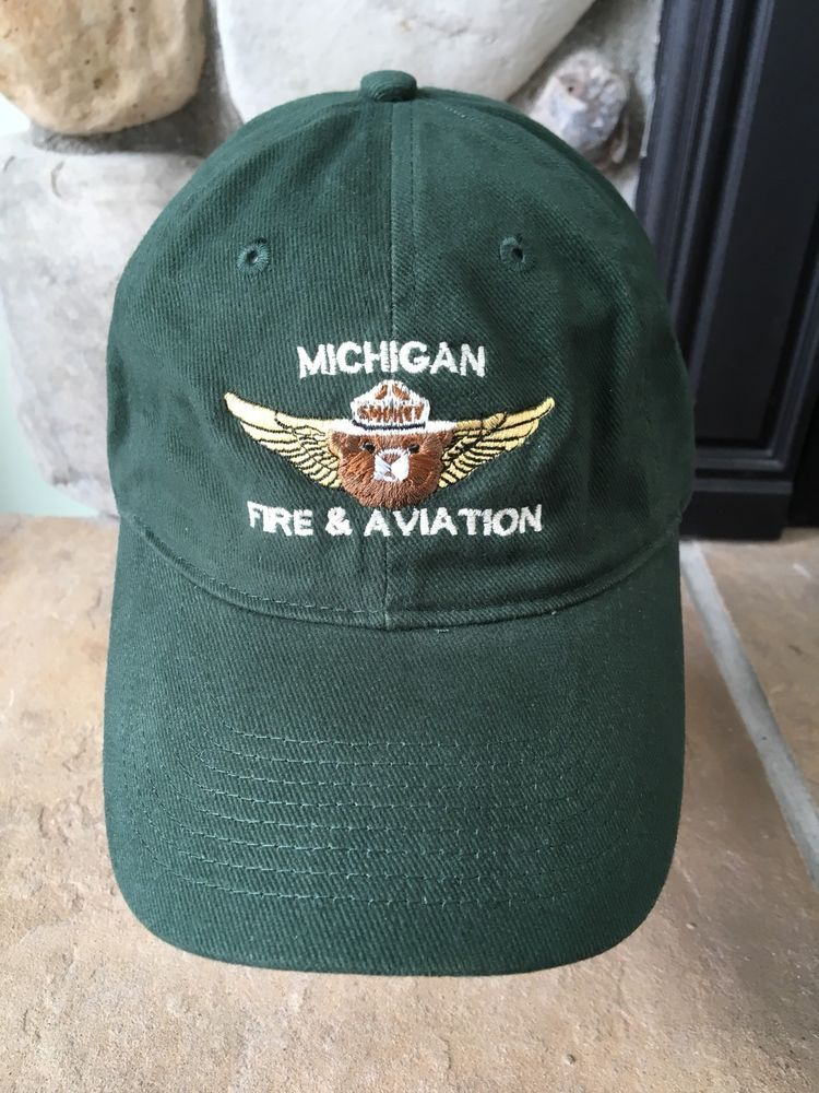 Smokey The Bear Michigan Fire Aviation Hat Green Sleeper Lake August 2007  EUC 2ea55622f4e