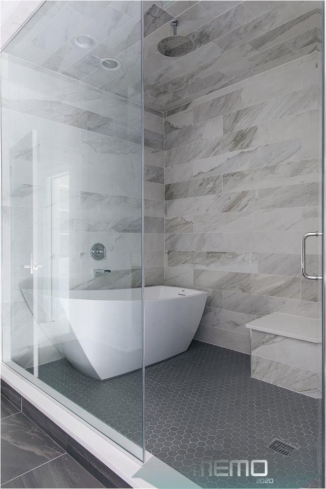 Photo of Jul 29, 2019 – Shower with freestanding tub The master bathroom also features a …