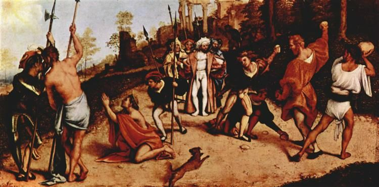 Lorenzo Lotto, Martirio di Santo Stefano, 1513-16, olio su tavola Bergamo, Accademia Carrara, cm 51 x 97.