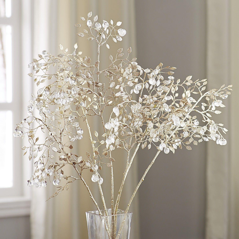 The Glittery World Of Silver Bedroom Ideas: Crystal Glitter Leaf Spray In 2019