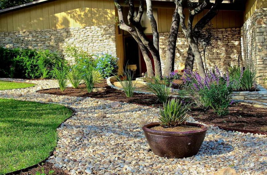 Landscaping Ideas With Rocks: Simple Rock Garden Ideas With Brick ...