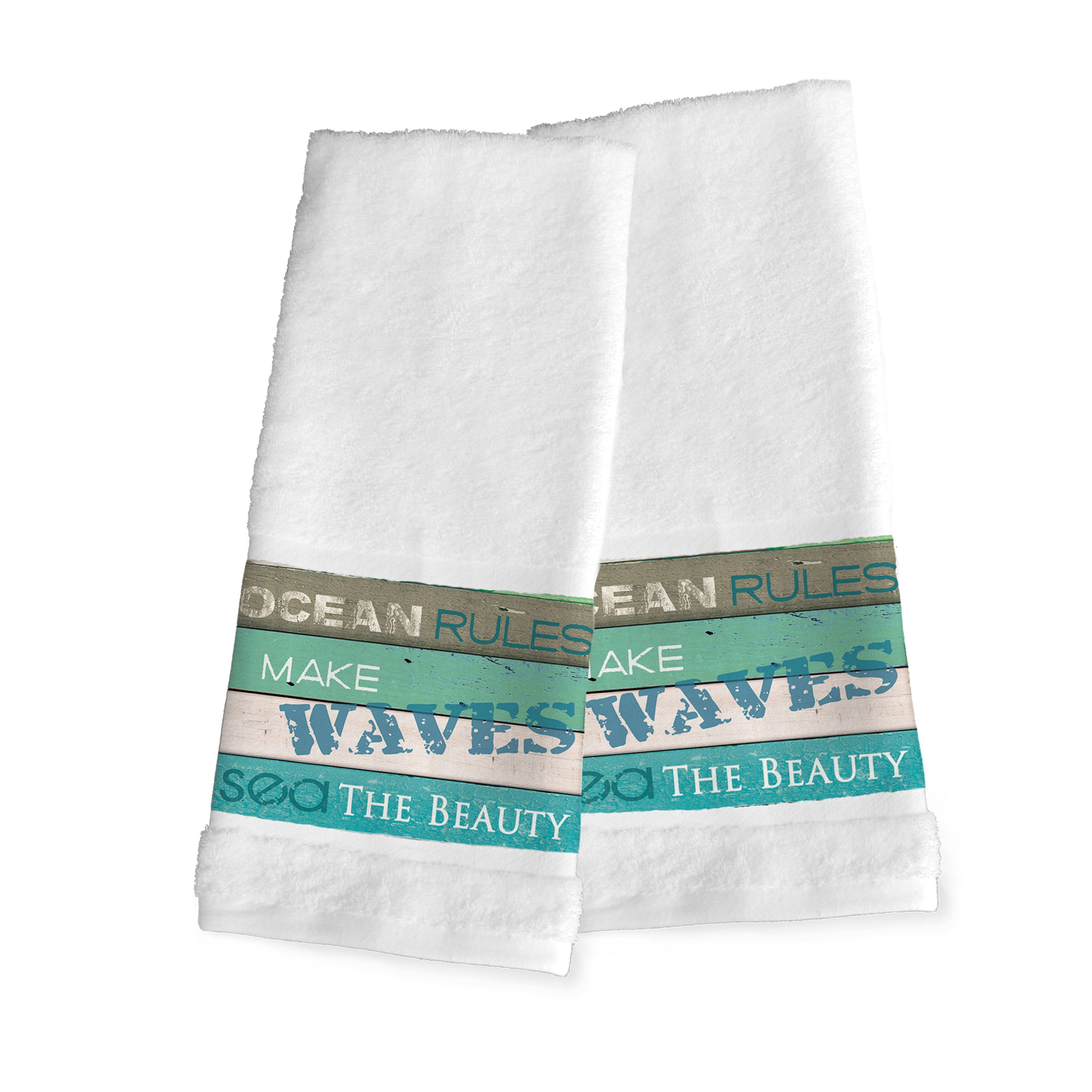 Laural Home /Green \'Rules of the Ocean\' Hand Towel | Products ...