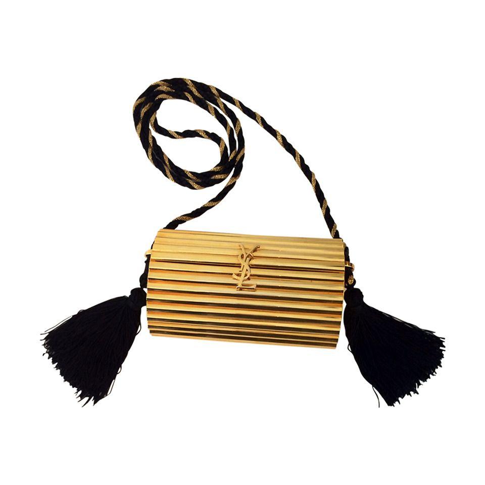 Ysl Vintage Gold Metal Black Tassel Evening Bag Clutch 1980s Evening Clutch Bag Vintage Evening Bags Vintage Ysl