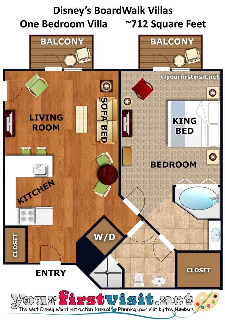 1 Bedroom Disney Beach Club Villas Floor Plan