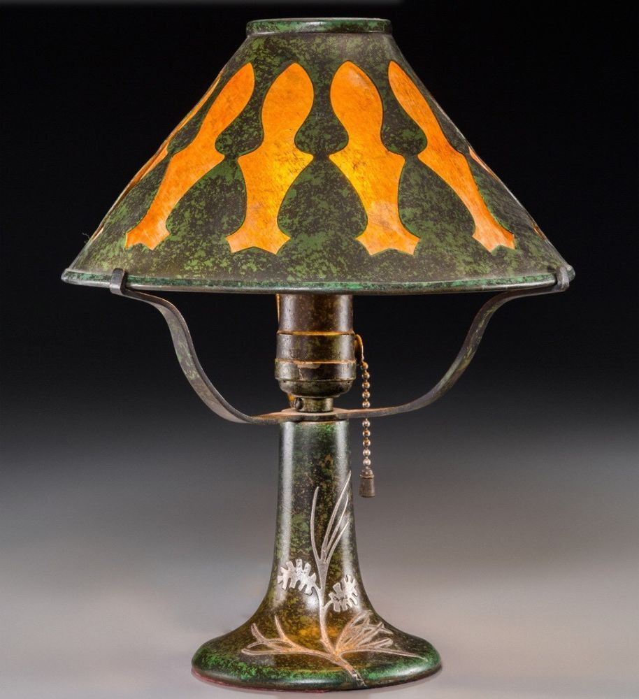 Heintz Bronze Silver Overlay And Mica Arts U0026 Crafts Table Lamp