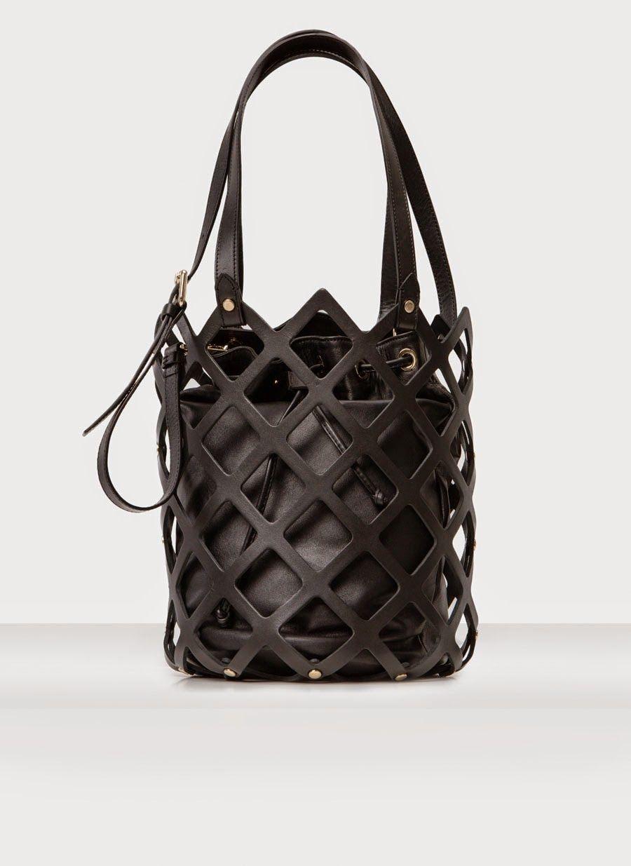 Leather Cage Bucket Bag Chic Black Handbag Uterque