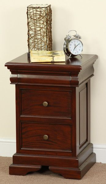 Bedroom Furniture High Resolution: Sleigh Solid Mahogany 3 Drawer Bedside Table