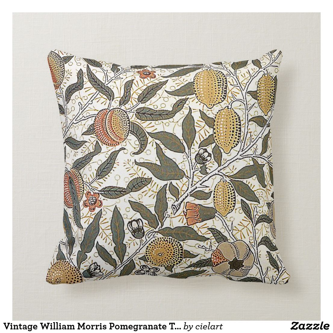 Vintage William Morris Pomegranate Throw Throw Pillow Zazzle Com